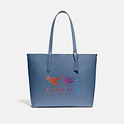 HIGHLINE TOTE WITH REXY AND CARRIAGE - PEWTER/STONE BLUE MULTI - COACH 88774