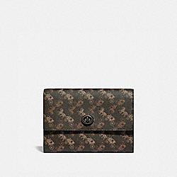 POUCH WITH HORSE AND CARRIAGE PRINT - BROWN/TAN - COACH 88786