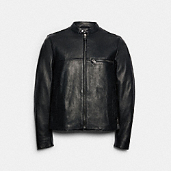 LEATHER RACER JACKET - BLACK - COACH 88799