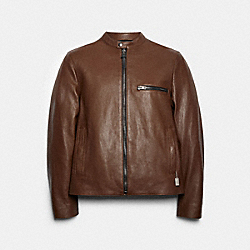 LEATHER RACER JACKET - DARK FAWN - COACH 88799