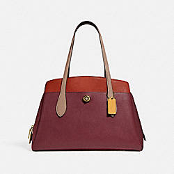 LORA CARRYALL IN COLORBLOCK - B4/TAUPE RED SAND MULTI - COACH 89086