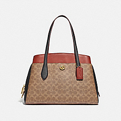 LORA CARRYALL IN COLORBLOCK SIGNATURE CANVAS - B4/TAN RUST - COACH 89087