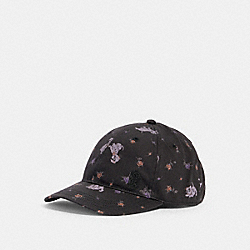 DISNEY X COACH HAT WITH DALMATIAN FLORAL PRINT - BLACK/PURPLE - COACH 89108