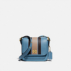 RAMBLER CROSSBODY 16 WITH VARSITY STRIPE - BRASS/PACIFIC BLUE MULTI - COACH 89138