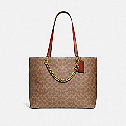 SIGNATURE CHAIN CONVERTIBLE TOTE IN SIGNATURE CANVAS - B4/TAN RUST - COACH 89174
