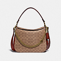 SIGNATURE CHAIN HOBO IN SIGNATURE CANVAS - B4/TAN RUST - COACH 89177