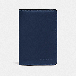 CARD WALLET IN COLORBLOCK WITH SIGNATURE CANVAS DETAIL - TRUE NAVY MULTI - COACH 89207