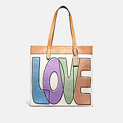 TOTE 38 WITH LOVE PRINT - B4/PINK MULTICOLOR - COACH 89236