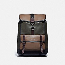 BLEECKER BACKPACK IN COLORBLOCK - JI/ARMY GREEN MULTI - COACH 89296