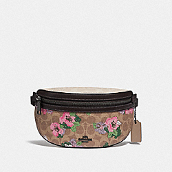 BETHANY BELT BAG IN SIGNATURE CANVAS WITH BLOSSOM PRINT - PEWTER/TAN SAND PRINT - COACH 89300