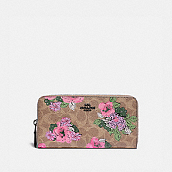 ACCORDION ZIP WALLET IN SIGNATURE CANVAS WITH BLOSSOM PRINT - V5/TAN PRINT - COACH 89308
