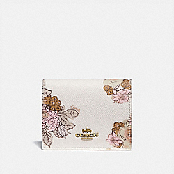 SMALL SNAP WALLET WITH FLORAL BOUQUET PRINT - B4/CHALK - COACH 89309