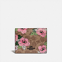 SMALL SNAP WALLET IN SIGNATURE CANVAS WITH BLOSSOM PRINT - V5/TAN PRINT - COACH 89310