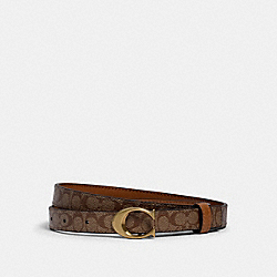 SIGNATURE BUCKLE BELT, 18MM - B4/KHAKI/SADDLE - COACH 89402