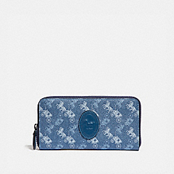 ACCORDION ZIP WALLET WITH HORSE AND CARRIAGE PRINT AND ARCHIVE PATCH - V5/BLUE TRUE BLUE - COACH 89611