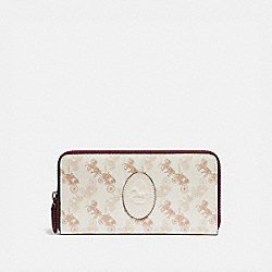 ACCORDION ZIP WALLET WITH HORSE AND CARRIAGE PRINT AND ARCHIVE PATCH - V5/CHALK DARK SADDLE - COACH 89611