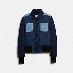 DENIM BUTTON FRONT BOMBER - DENIM - COACH 89623