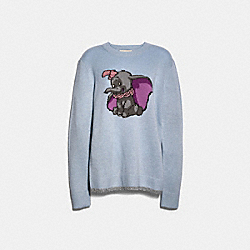 DISNEY X COACH DUMBO INTARSIA SWEATER - PALE BLUE - COACH 89632
