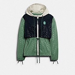 SIGNATURE SPORTY JACKET - WASHED GREEN MULTI - COACH 89635
