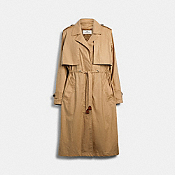 LIGHTWEIGHT OVERCOAT WITH SIGNATURE LINING - LIGHT KHAKI - COACH 89648