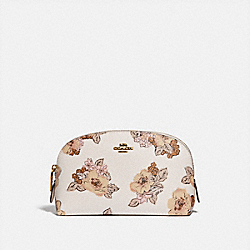 COSMETIC CASE 17 WITH FLORAL BOUQUET PRINT - BRASS/CHALK - COACH 89651