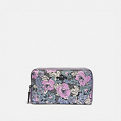 MEDIUM ZIP AROUND WALLET WITH HERITAGE FLORAL PRINT - PEWTER/SOFT LILAC MULTI - COACH 89685