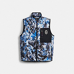 QUILTED VEST - BLUE WATERCOLOR CAMO - COACH 89728
