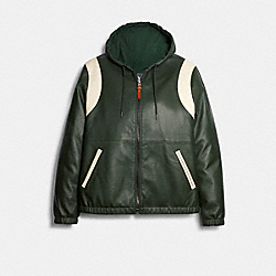 REVERSIBLE LEATHER VARSITY TRAINER - DEEP GREEN - COACH 89744