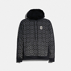 MIXED MEDIA HOODIE - BLACK SIGNATURE - COACH 89747