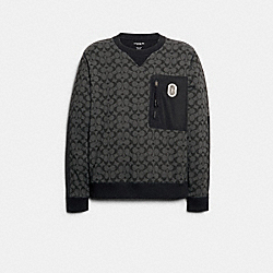 MIXED MEDIA SWEATSHIRT - BLACK SIGNATURE - COACH 89748