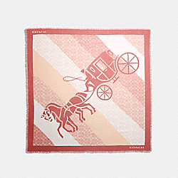 SIGNATURE HORSE AND CARRIAGE PRINT OVERSIZED SQUARE SCARF - BRIGHT CORAL - COACH 89844