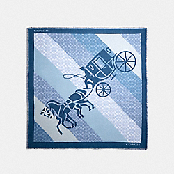 SIGNATURE HORSE AND CARRIAGE PRINT OVERSIZED SQUARE SCARF - DENIM - COACH 89844