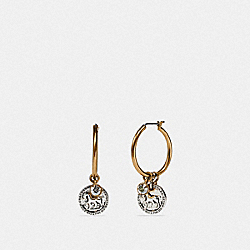 HORSE AND CARRIAGE COIN HOOP EARRINGS - GOLD/SILVER - COACH 89859