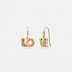 BOXED LOVE DROP EARRINGS - GOLD/MULTI - COACH 89875