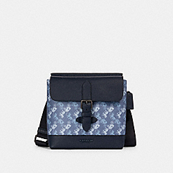 HUDSON CROSSBODY WITH HORSE AND CARRIAGE PRINT - QB/INDIGO MULTI - COACH 89891