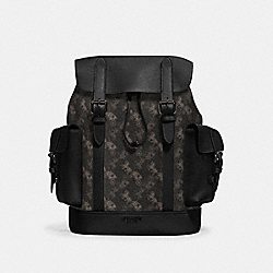 HUDSON BACKPACK WITH HORSE AND CARRIAGE PRINT - QB/BLACK MULTI - COACH 89897