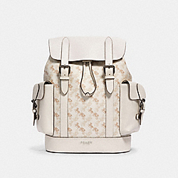 HUDSON BACKPACK WITH HORSE AND CARRIAGE PRINT - QB/BEIGE TAUPE - COACH 89897