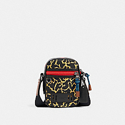 TERRAIN CROSSBODY WITH WAVY ANIMAL PRINT - QB/YELLOW MULTI - COACH 89901