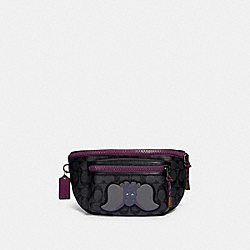 DISNEY X COACH TERRAIN BELT BAG IN SIGNATURE CANVAS WITH DUMBO - QB/CHARCOAL PLUM MULTI - COACH 89905