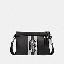 EDGE MESSENGER WITH REFLECTIVE VARSITY STRIPE AND COACH PATCH - QB/BLACK/SILVER/BLACK - COACH 89914