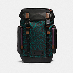 DISNEY X COACH RANGER BACKPACK WITH WAVY ANIMAL PRINT - QB/DARK GREEN MULTI - COACH 89929