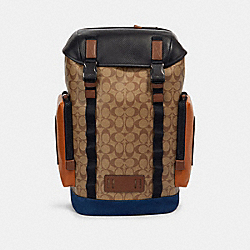 RANGER BACKPACK IN SIGNATURE CANVAS WITH MOUNTAINEERING DETAIL - QB/TAN BURNT SIENNA MULTI - COACH 89930
