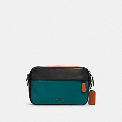 GRAHAM CROSSBODY IN COLORBLOCK SIGNATURE CANVAS - QB/CHARCOAL DARK SEA GREEN - COACH 89938
