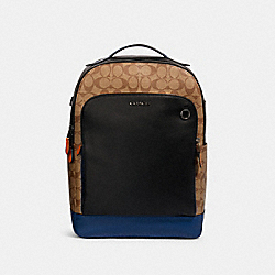 GRAHAM BACKPACK IN COLORBLOCK SIGNATURE CANVAS - QB/TAN ADMIRAL MULTI - COACH 89940
