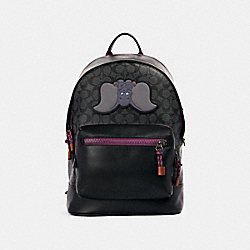 DISNEY X COACH WEST BACKPACK IN SIGNATURE CANVAS WITH DUMBO - QB/CHARCOAL PLUM MULTI - COACH 89943