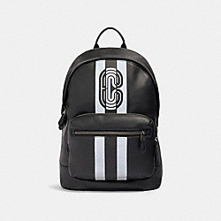 WEST BACKPACK WITH REFLECTIVE VARSITY STRIPE AND COACH PATCH - QB/BLACK/SILVER/BLACK - COACH 89945