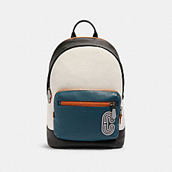 WEST BACKPACK IN COLORBLOCK WITH REFLECTIVE COACH PATCH - QB/CHALK/AEGEAN/ORANGE CLAY - COACH 89947