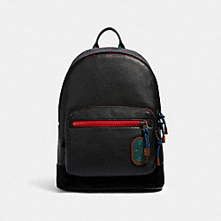 WEST BACKPACK IN COLORBLOCK WITH WAVY ANIMAL PRINT DETAIL AND COACH PATCH - QB/BLACK MULTI - COACH 89948