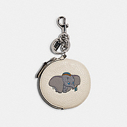 DISNEY X COACH CIRCULAR COIN POUCH BAG CHARM WITH DISNEY MOTIF - SV/CHALK MULTI - COACH 89988