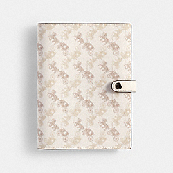 NOTEBOOK WITH HORSE AND CARRIAGE PRINT - BEIGE TAUPE - COACH 90017